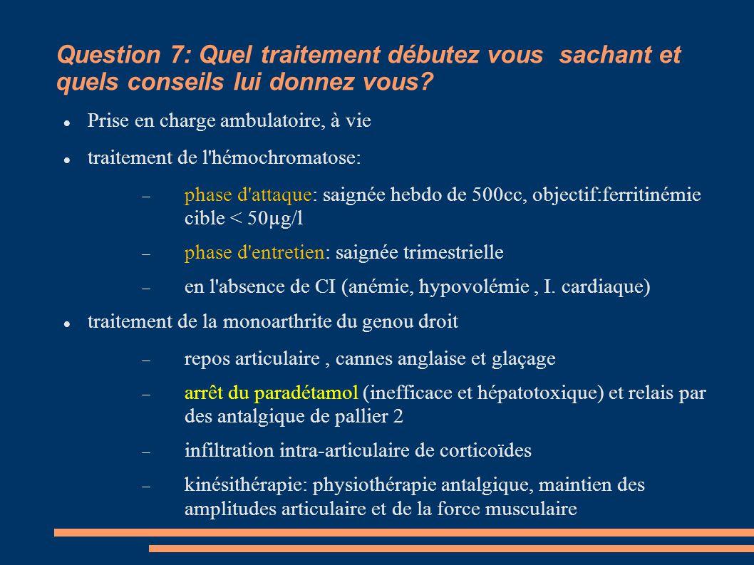 Question 7: Quel traitement débutez vous sachant et quels conseils lui donnez vous