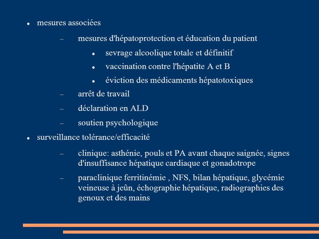 mesures associées mesures d hépatoprotection et éducation du patient. sevrage alcoolique totale et définitif.