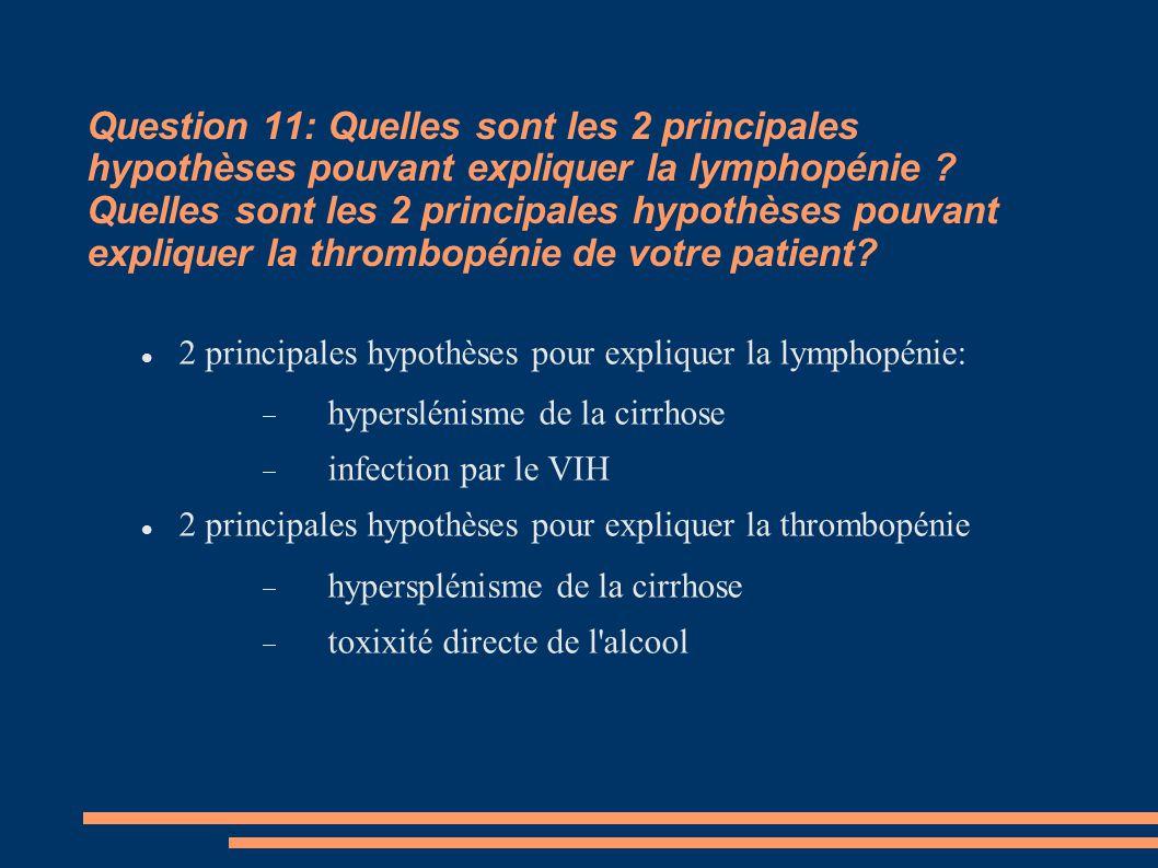 Question 11: Quelles sont les 2 principales hypothèses pouvant expliquer la lymphopénie Quelles sont les 2 principales hypothèses pouvant expliquer la thrombopénie de votre patient