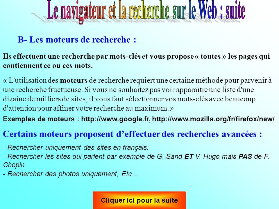 Le navigateur et la recherche sur le Web : suite