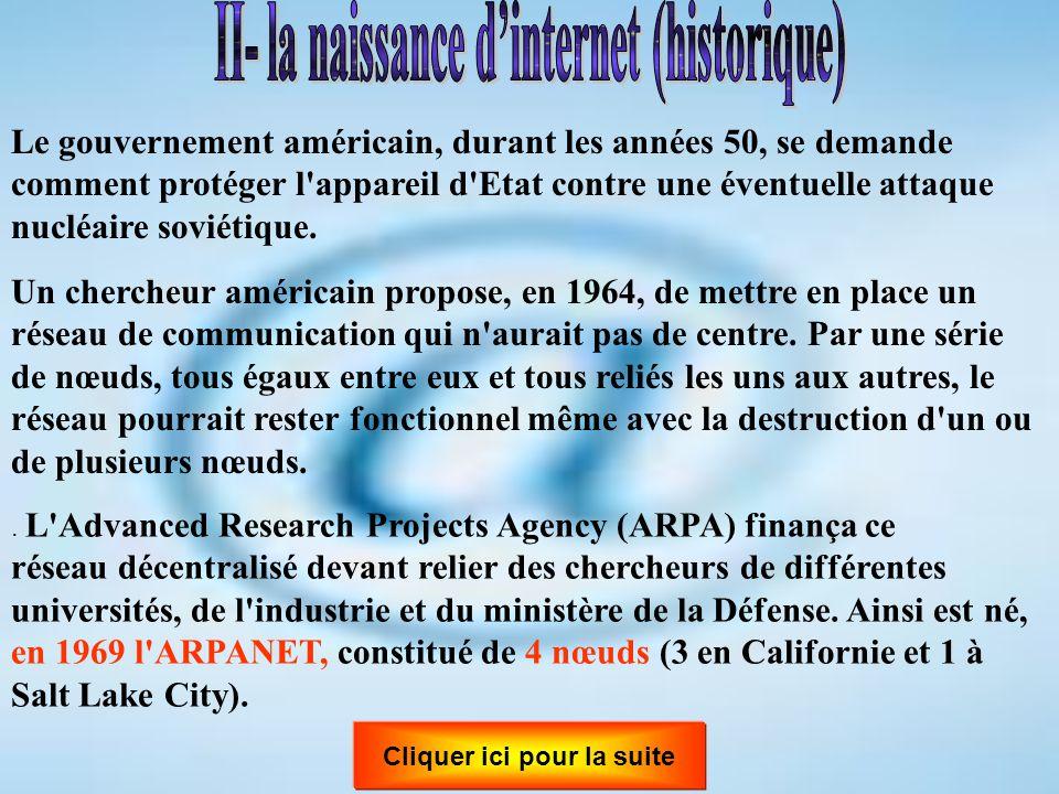 II- la naissance d'internet (historique) Cliquer ici pour la suite