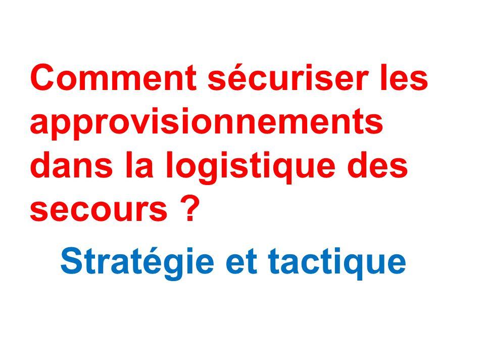 Comment sécuriser les approvisionnements dans la logistique des secours Stratégie et tactique