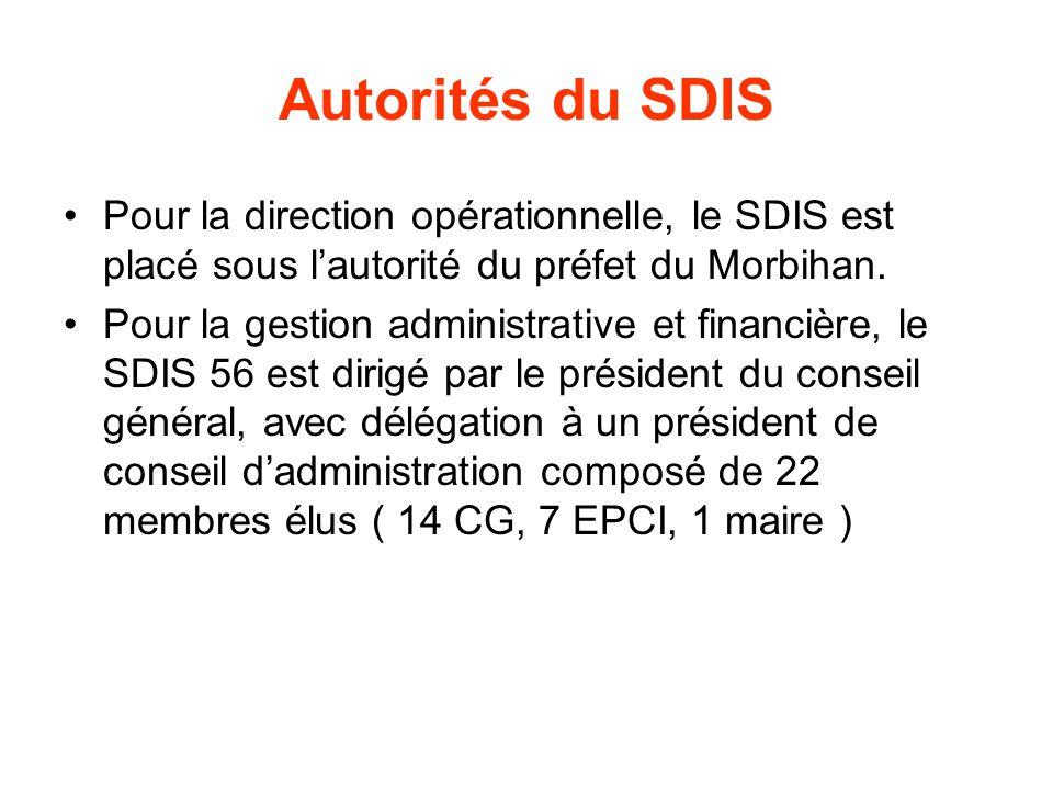 Autorités du SDIS Pour la direction opérationnelle, le SDIS est placé sous l'autorité du préfet du Morbihan.