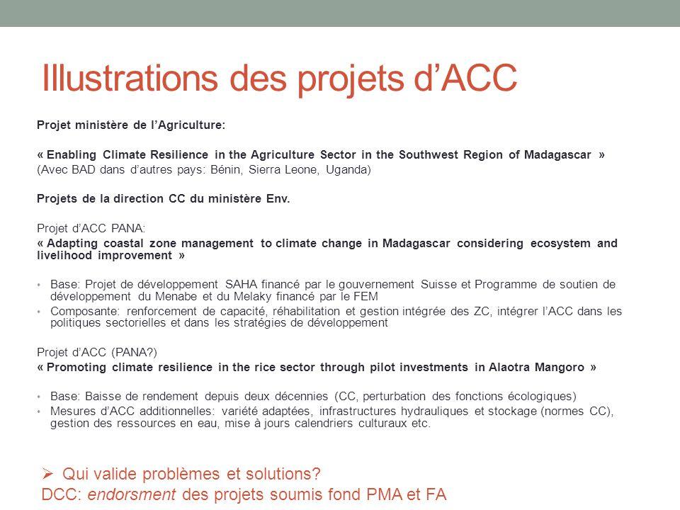 Illustrations des projets d'ACC