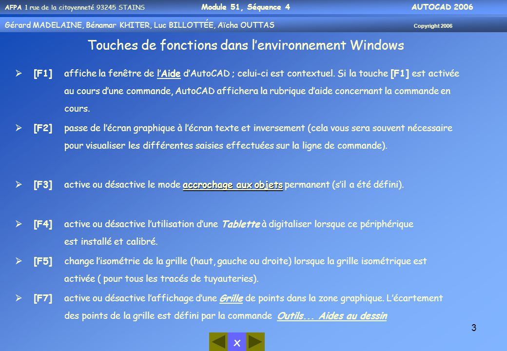 Touches de fonctions dans l'environnement Windows