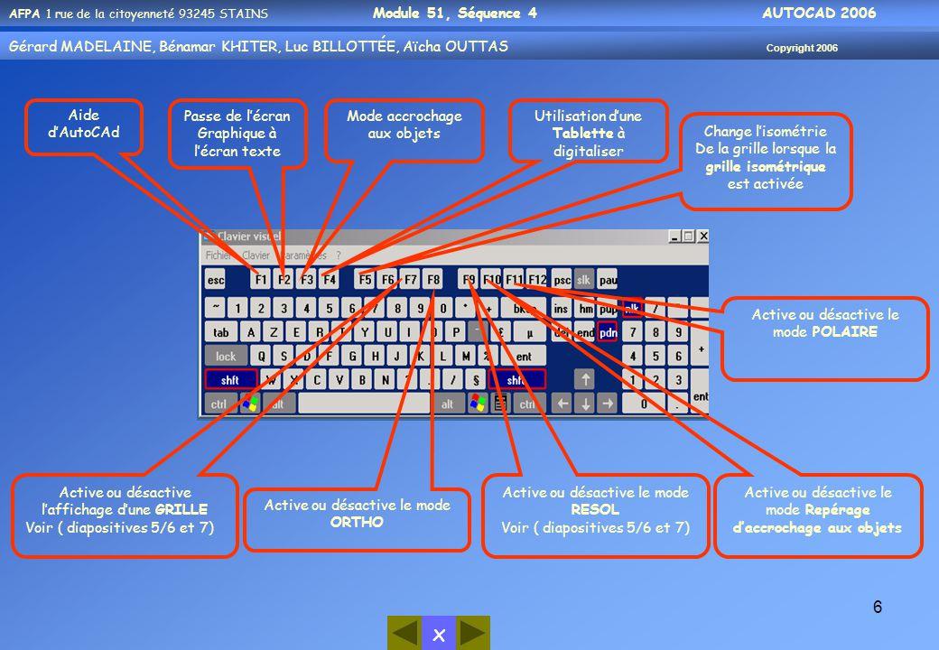 Graphique à l'écran texte Mode accrochage aux objets Utilisation d'une