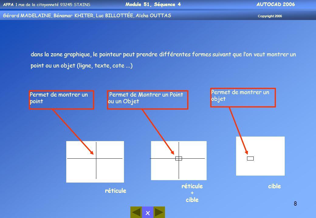 dans la zone graphique, le pointeur peut prendre différentes formes suivant que l'on veut montrer un point ou un objet (ligne, texte, cote ...)