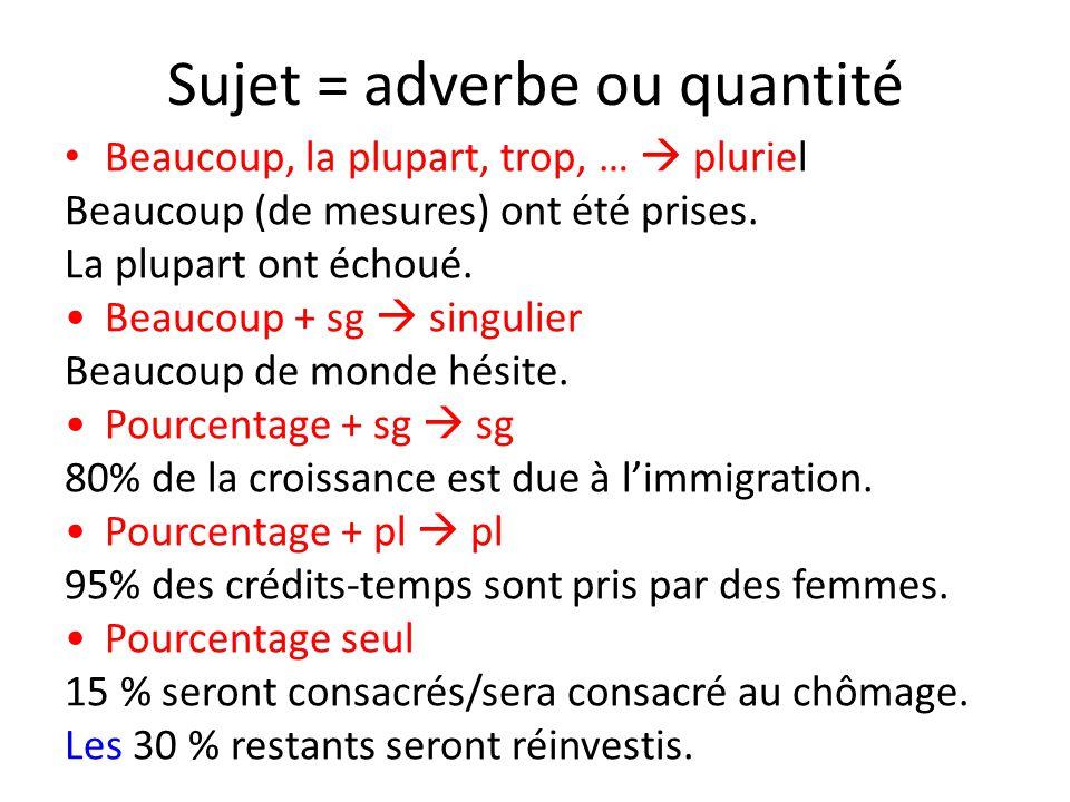 Sujet = adverbe ou quantité