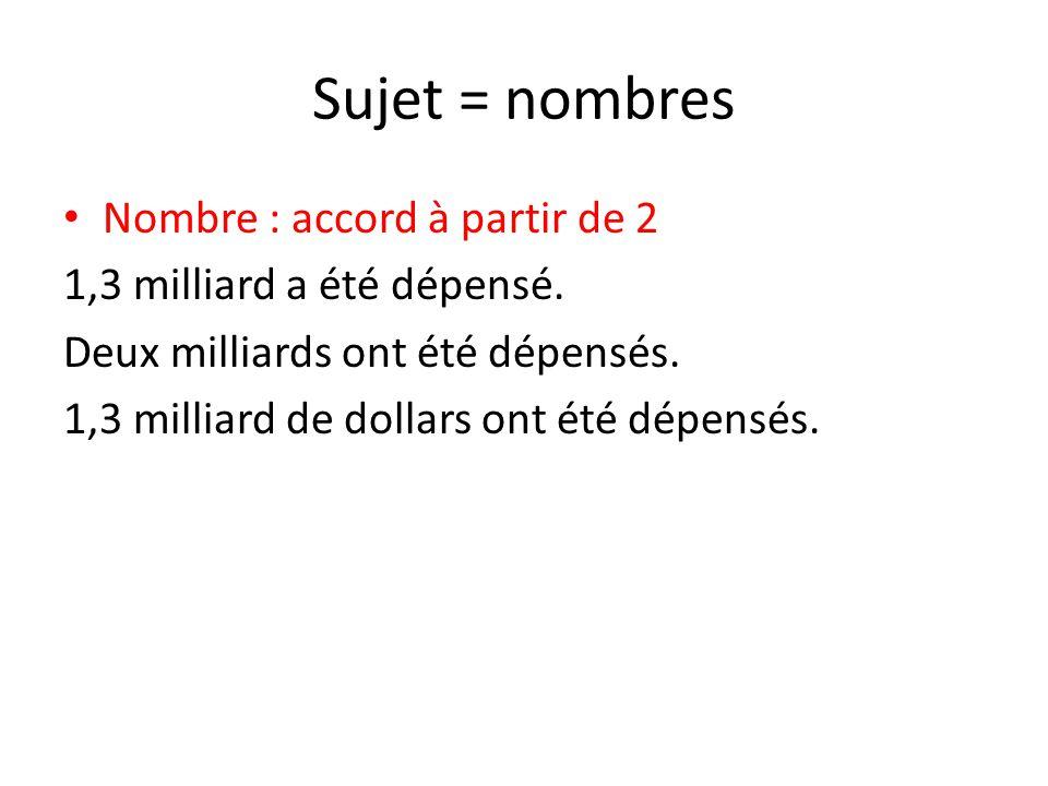 Sujet = nombres Nombre : accord à partir de 2