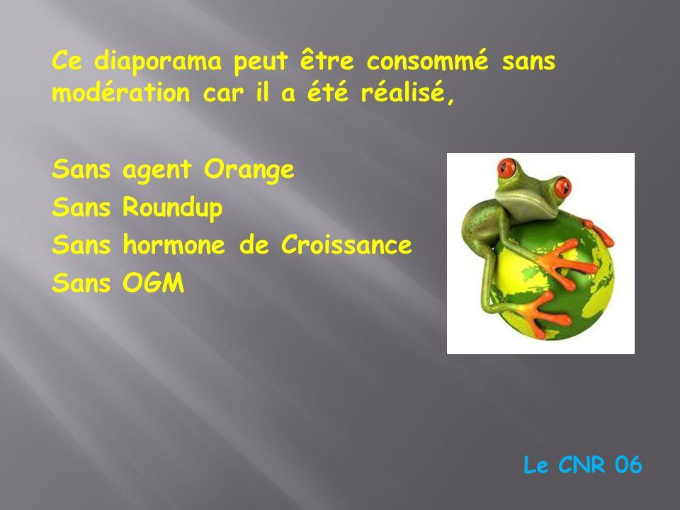 Ce diaporama peut être consommé sans modération car il a été réalisé, Sans agent Orange Sans Roundup Sans hormone de Croissance Sans OGM