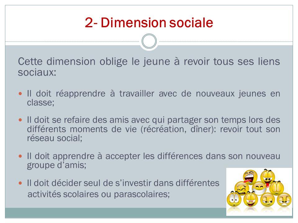 2- Dimension sociale Cette dimension oblige le jeune à revoir tous ses liens sociaux: