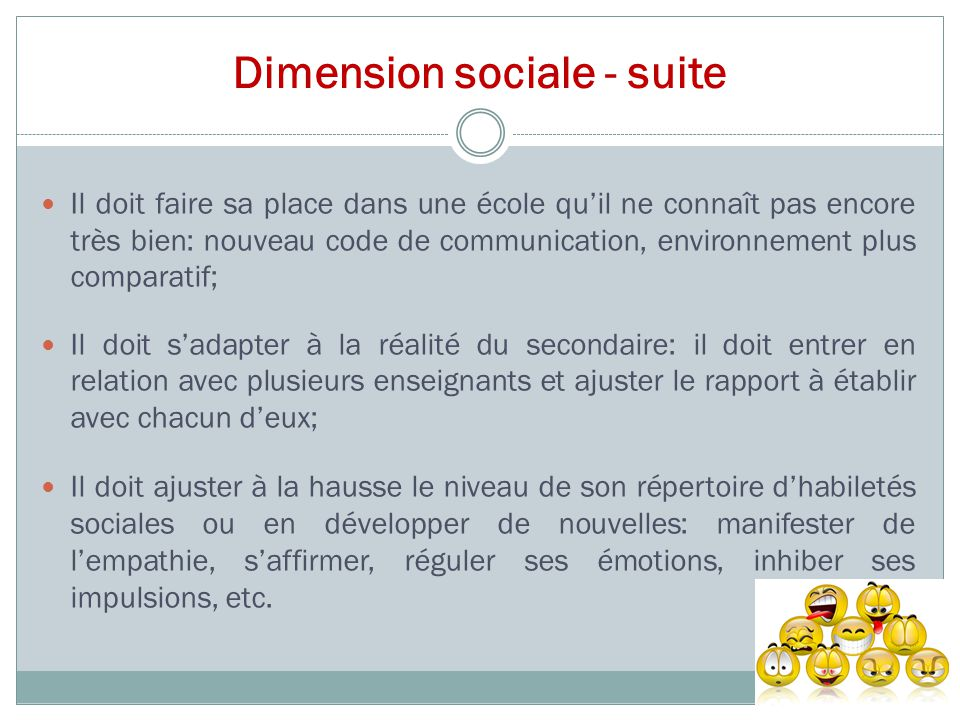 Dimension sociale - suite