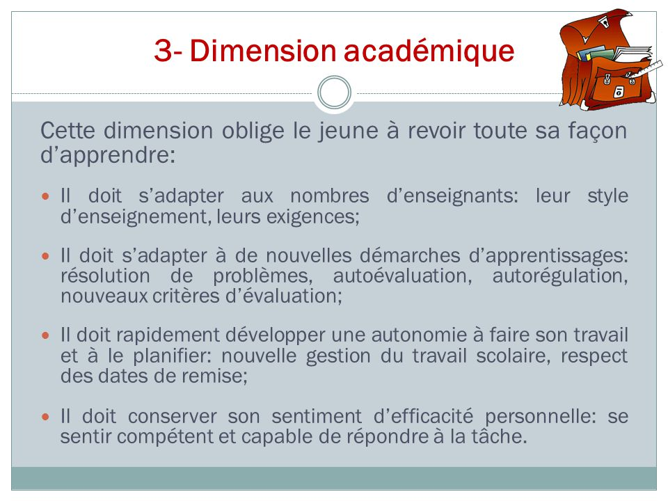 3- Dimension académique