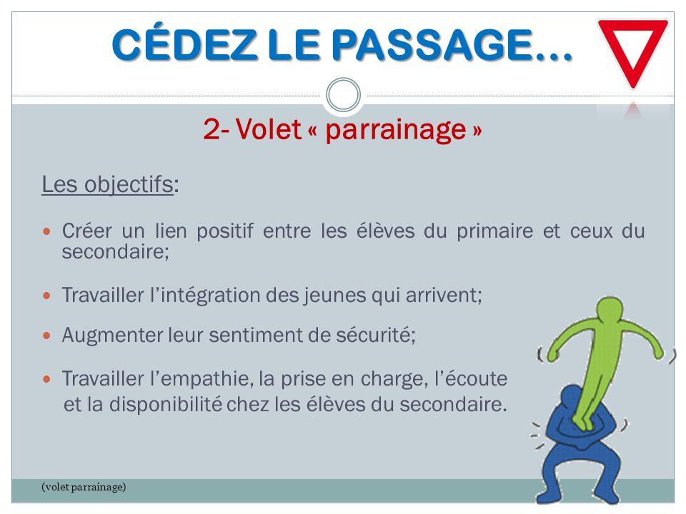 CÉDEZ LE PASSAGE… 2- Volet « parrainage »