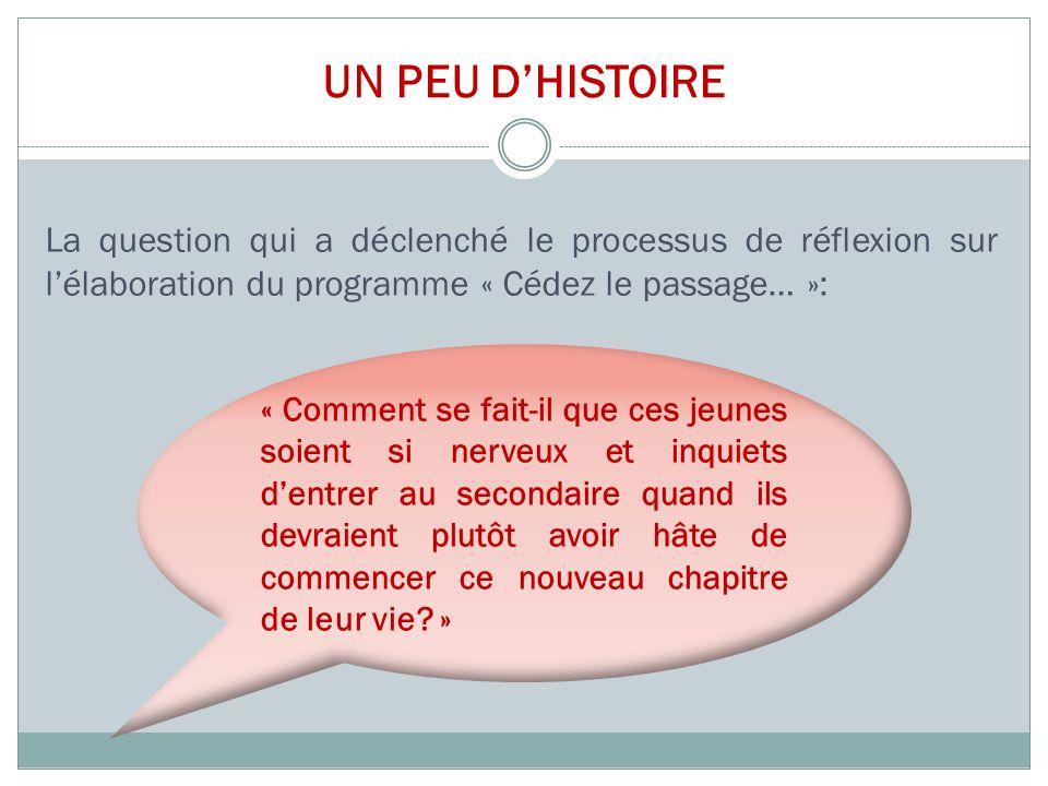 UN PEU D'HISTOIRE La question qui a déclenché le processus de réflexion sur l'élaboration du programme « Cédez le passage… »: