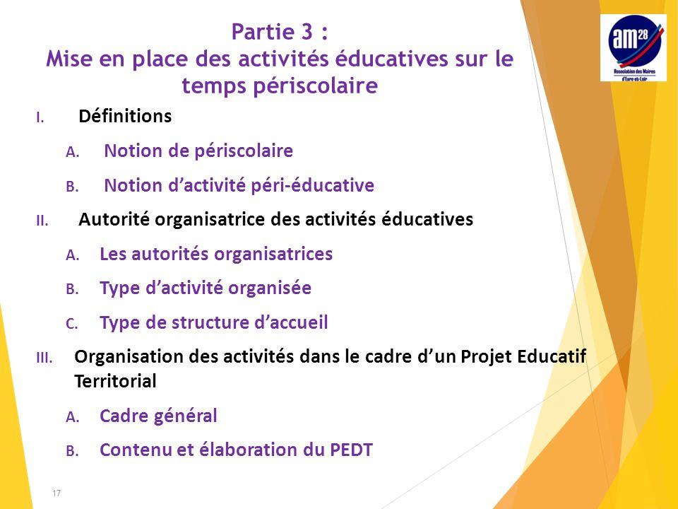 Partie 3 : Mise en place des activités éducatives sur le temps périscolaire