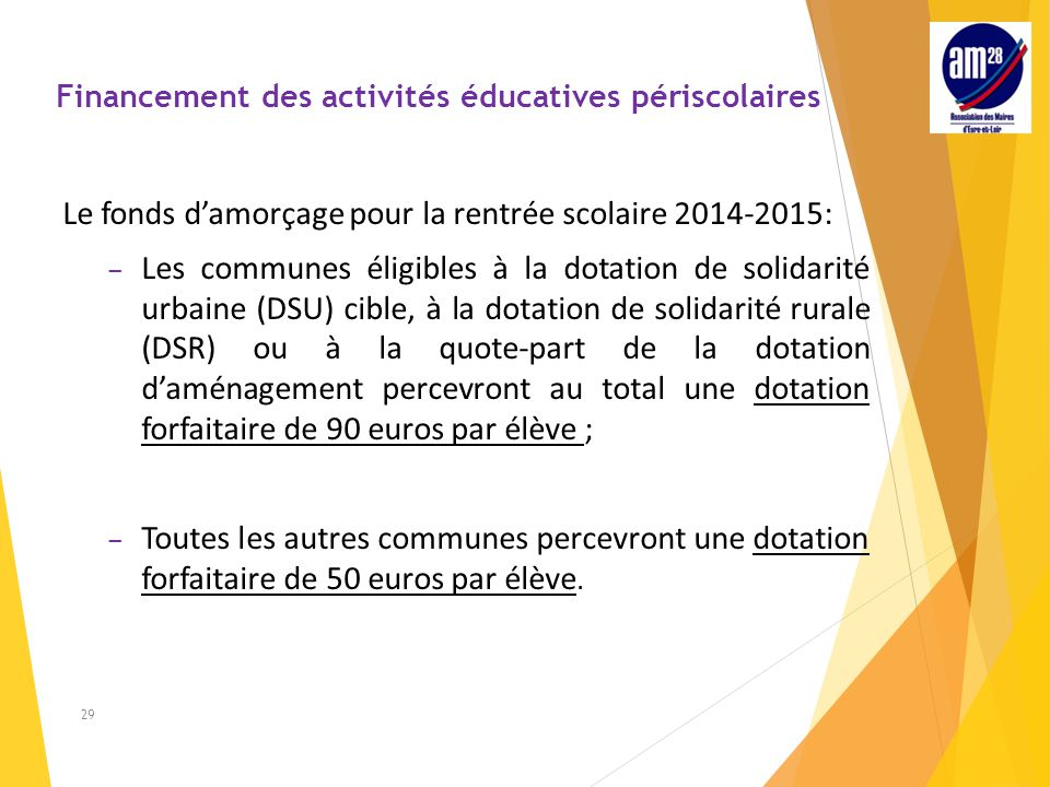 Financement des activités éducatives périscolaires