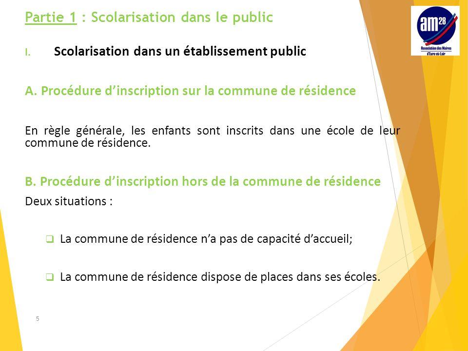 Partie 1 : Scolarisation dans le public