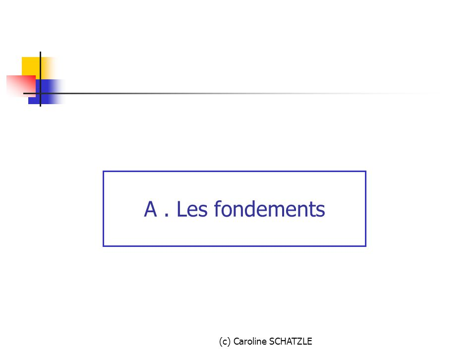 A . Les fondements (c) Caroline SCHATZLE