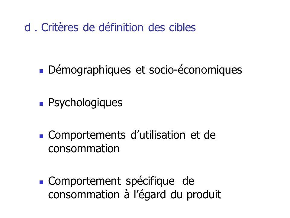 d . Critères de définition des cibles