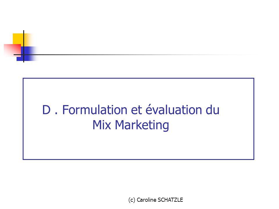 D . Formulation et évaluation du Mix Marketing