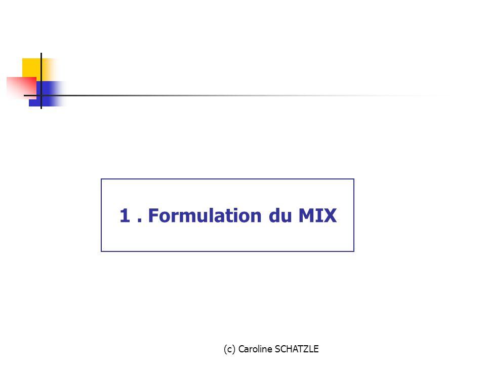 1 . Formulation du MIX (c) Caroline SCHATZLE
