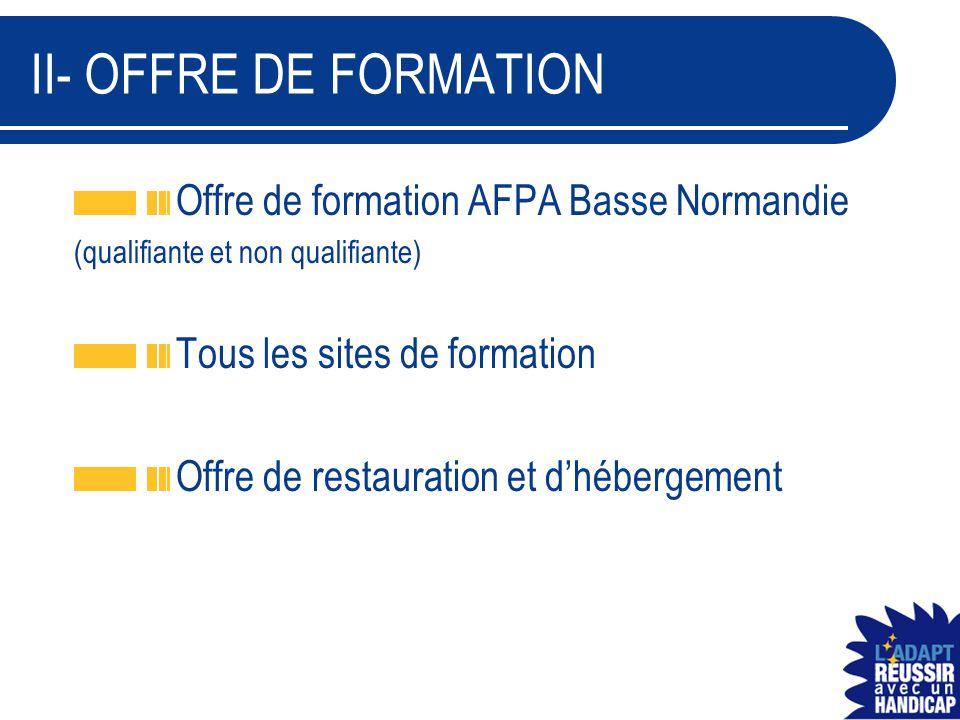 II- OFFRE DE FORMATION Offre de formation AFPA Basse Normandie