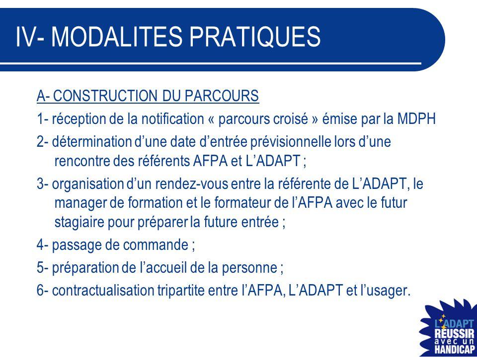 IV- MODALITES PRATIQUES