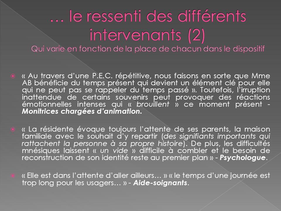 … le ressenti des différents intervenants (2) Qui varie en fonction de la place de chacun dans le dispositif