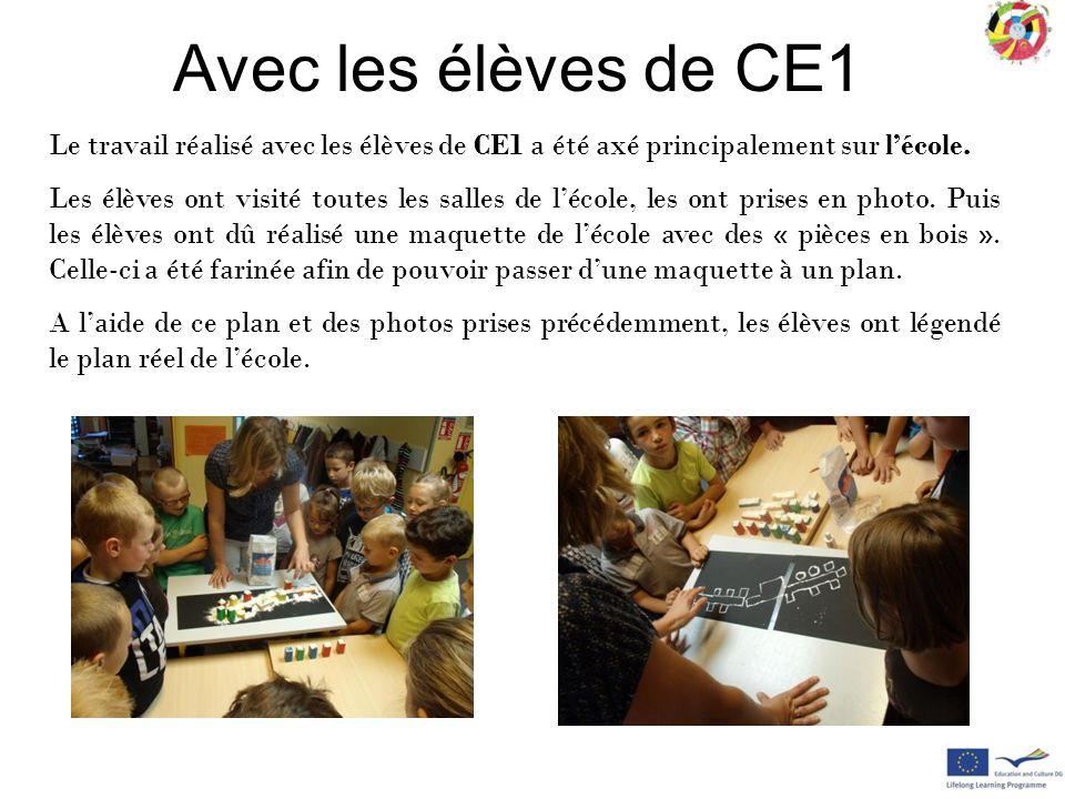 Avec les élèves de CE1 Le travail réalisé avec les élèves de CE1 a été axé principalement sur l'école.