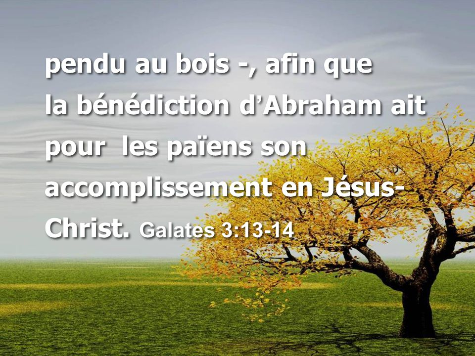 pendu au bois -, afin que la bénédiction d'Abraham ait pour les païens son accomplissement en Jésus-Christ.