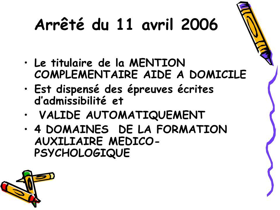 Arrêté du 11 avril 2006 Le titulaire de la MENTION COMPLEMENTAIRE AIDE A DOMICILE. Est dispensé des épreuves écrites d'admissibilité et.