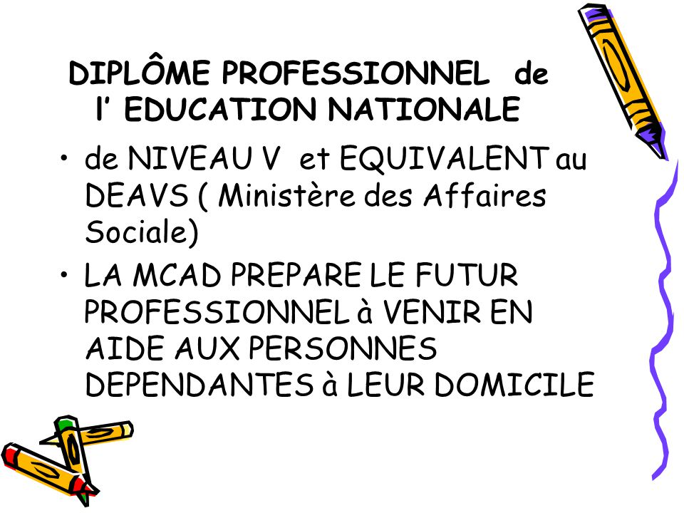 DIPLÔME PROFESSIONNEL de l' EDUCATION NATIONALE