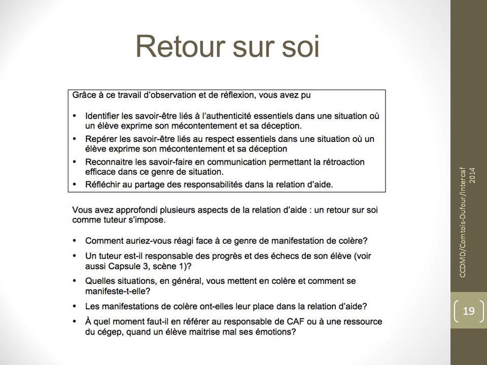 Retour sur soi CCDMD/Comtois-Dufour/Intercaf 2014