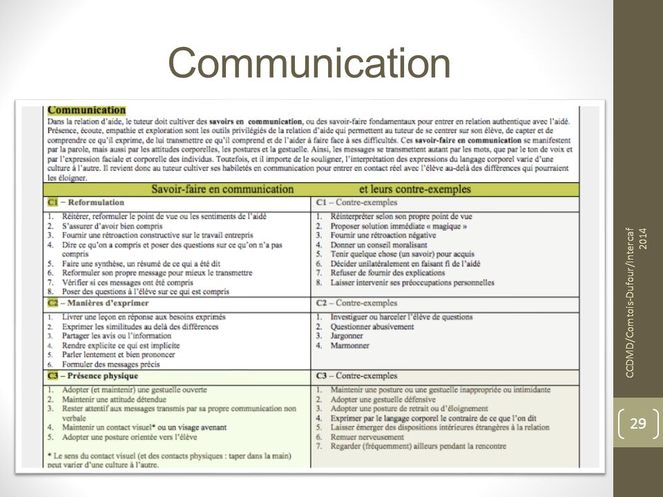 Communication CCDMD/Comtois-Dufour/Intercaf 2014