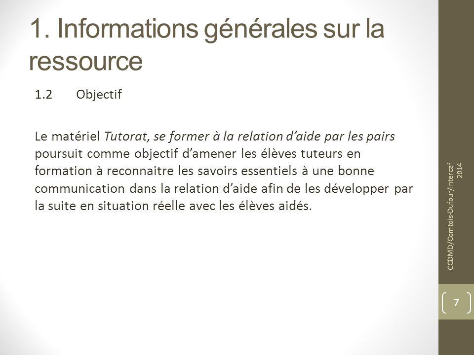 1. Informations générales sur la ressource