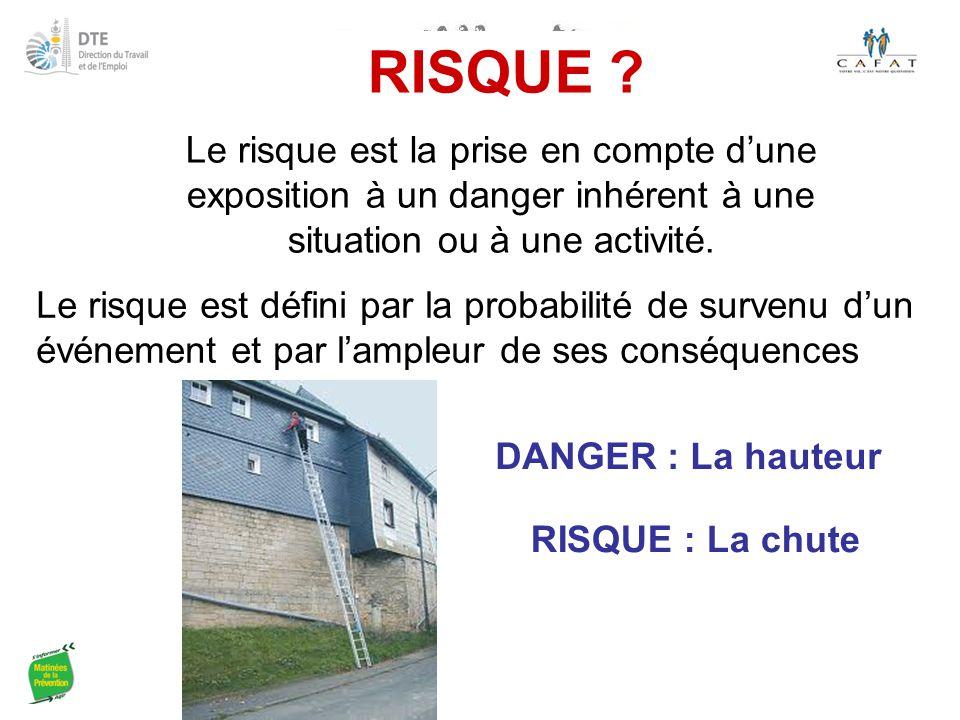 RISQUE Le risque est la prise en compte d'une exposition à un danger inhérent à une situation ou à une activité.
