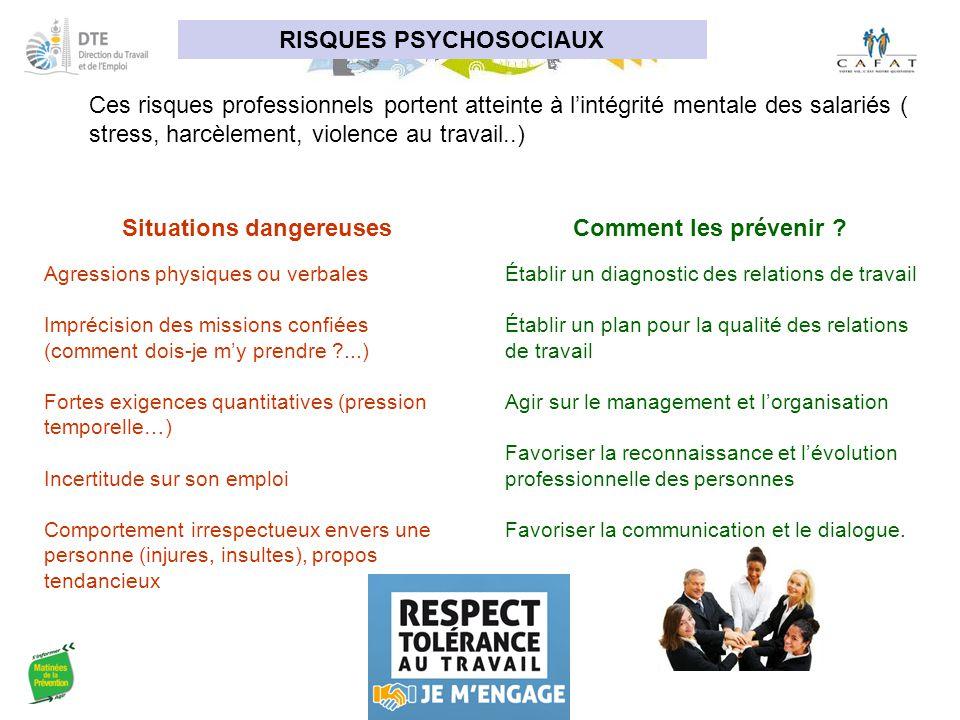 RISQUES PSYCHOSOCIAUX Situations dangereuses