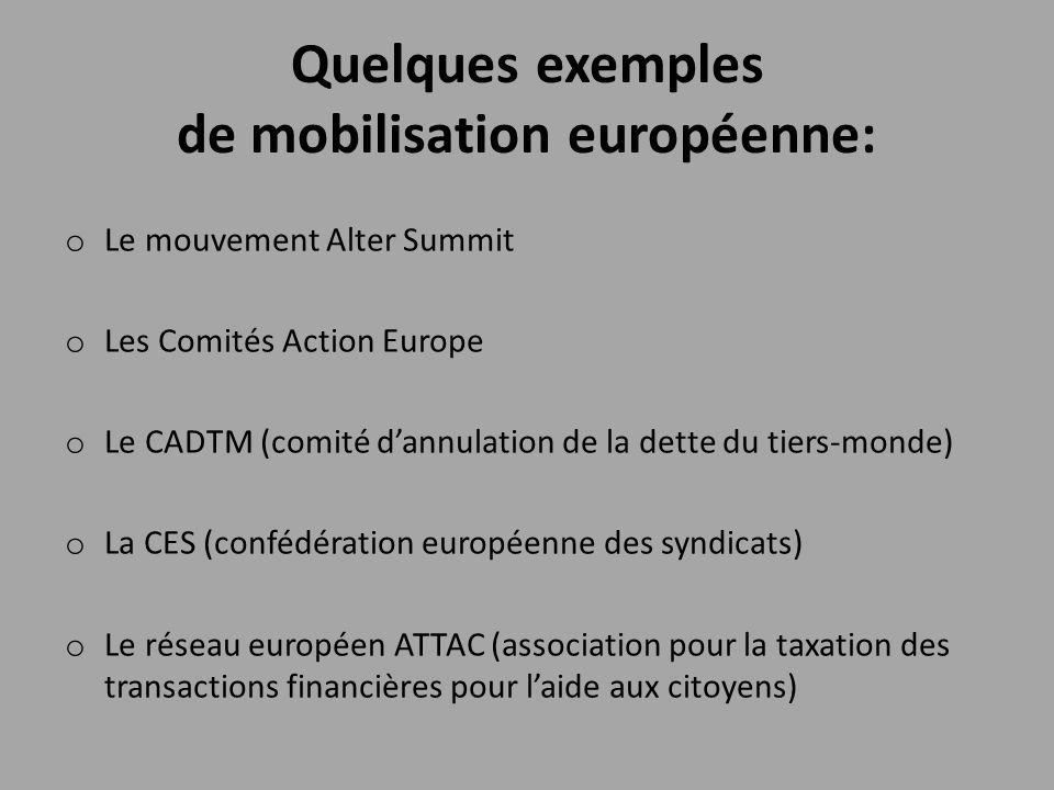 Quelques exemples de mobilisation européenne: