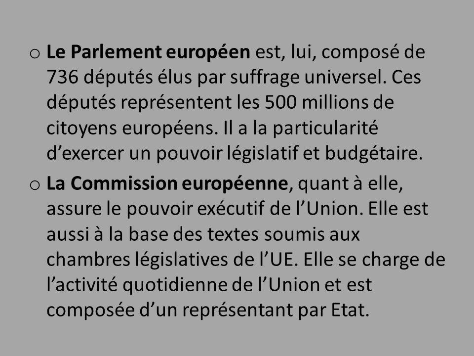 Le Parlement européen est, lui, composé de 736 députés élus par suffrage universel. Ces députés représentent les 500 millions de citoyens européens. Il a la particularité d'exercer un pouvoir législatif et budgétaire.