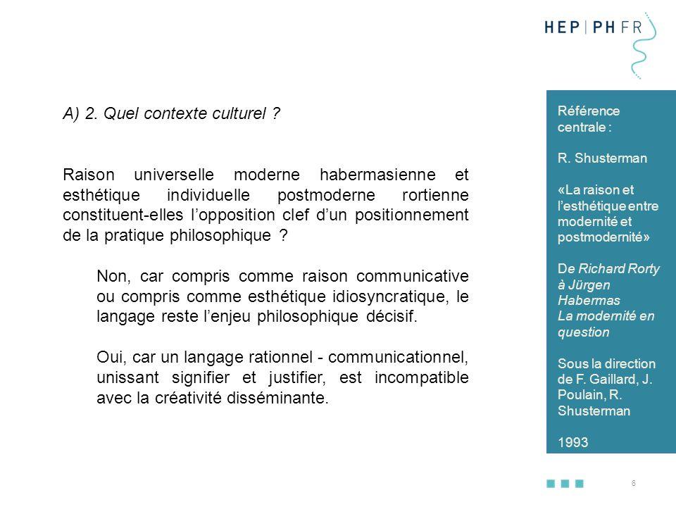 A) 2. Quel contexte culturel