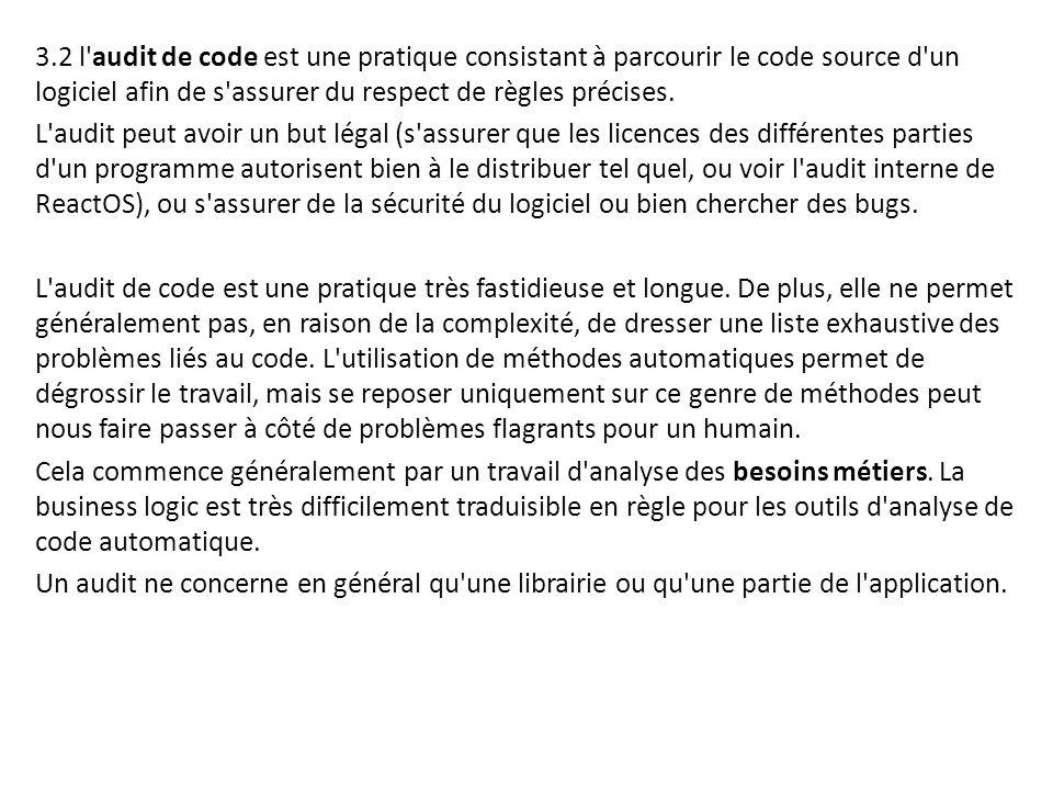 3.2 l audit de code est une pratique consistant à parcourir le code source d un logiciel afin de s assurer du respect de règles précises.