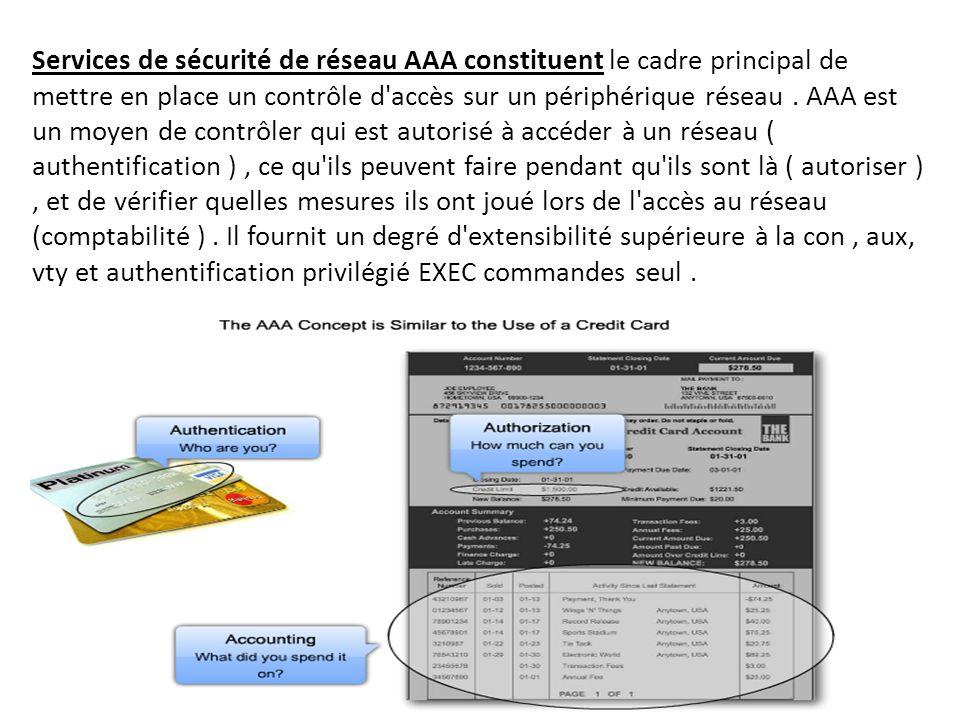 Services de sécurité de réseau AAA constituent le cadre principal de mettre en place un contrôle d accès sur un périphérique réseau .