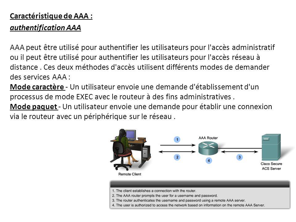Caractéristique de AAA :