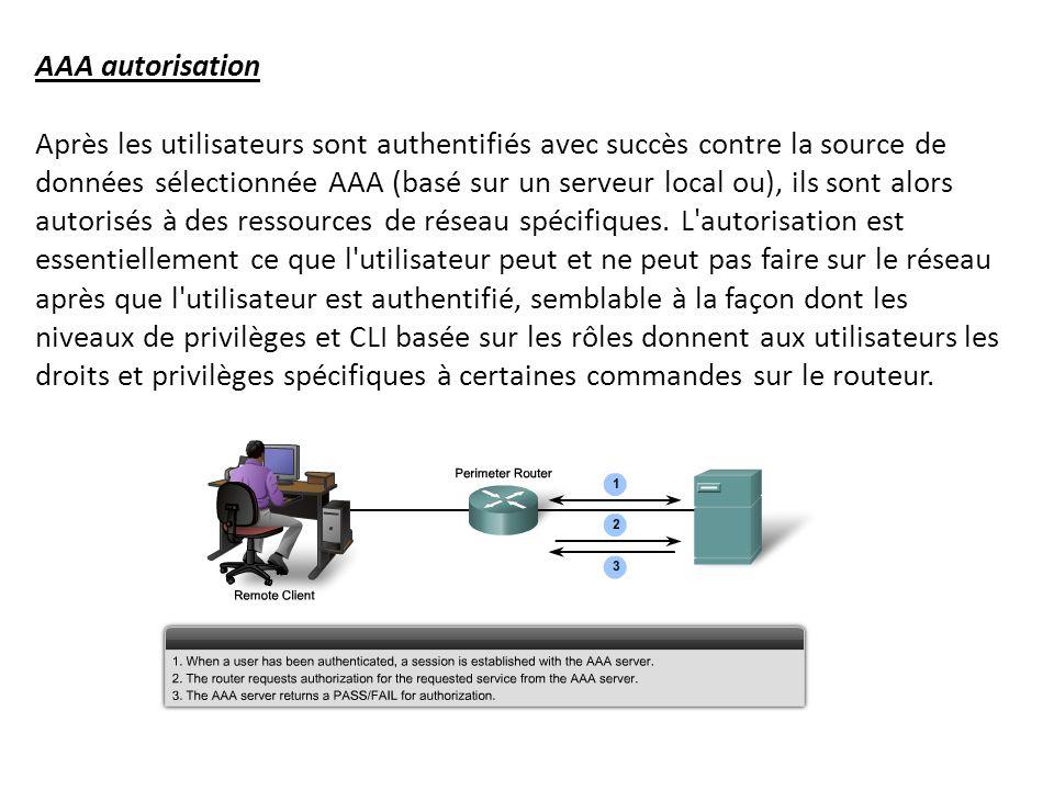 AAA autorisation Après les utilisateurs sont authentifiés avec succès contre la source de données sélectionnée AAA (basé sur un serveur local ou), ils sont alors autorisés à des ressources de réseau spécifiques.