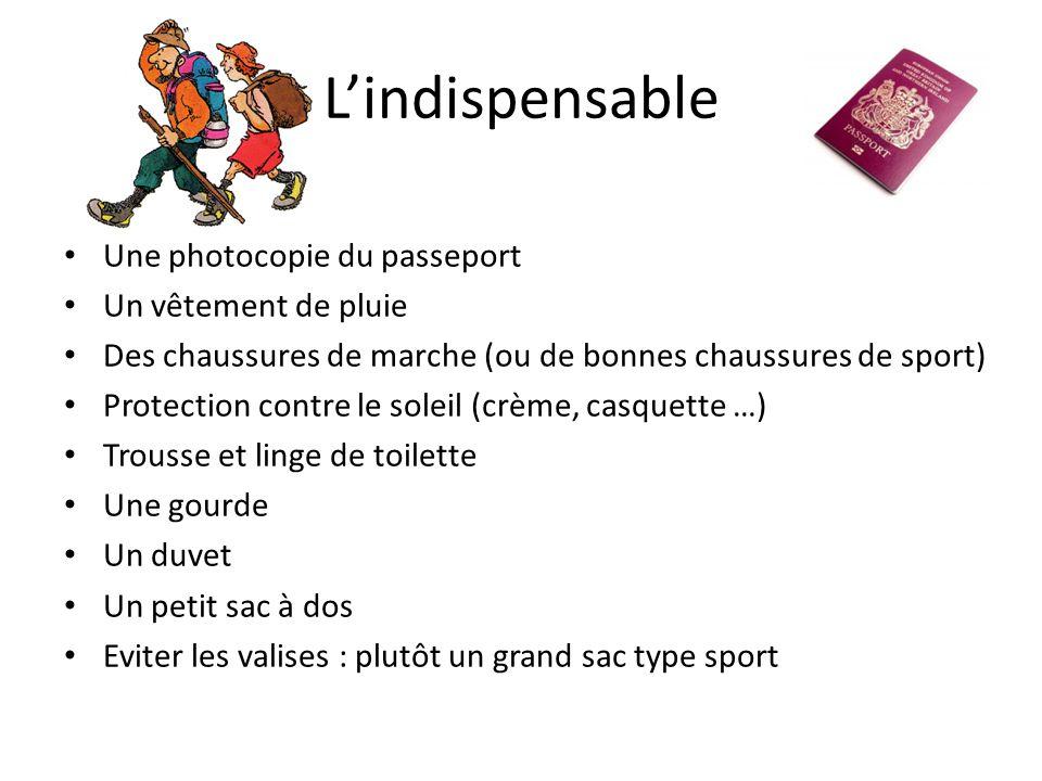 L'indispensable Une photocopie du passeport Un vêtement de pluie