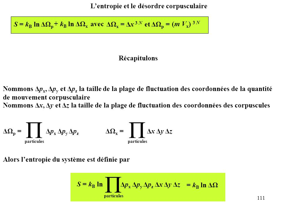 Π Π Π L'entropie et le désordre corpusculaire S = kB ln ΔΩp