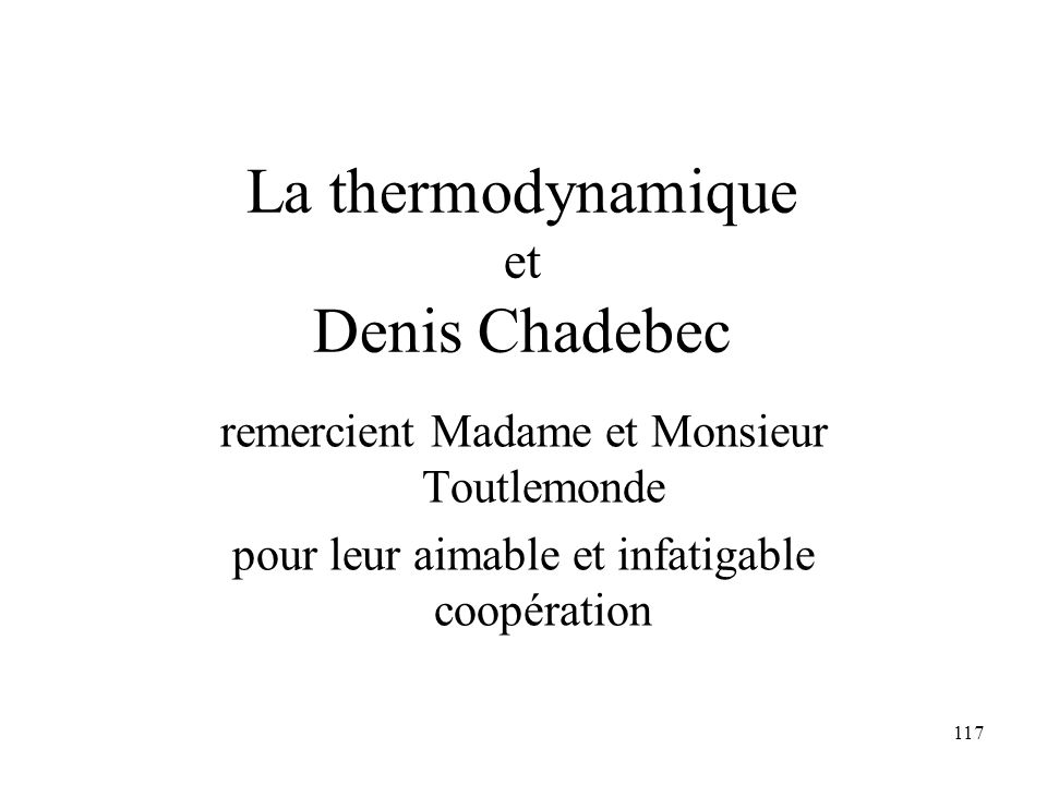 La thermodynamique Denis Chadebec et