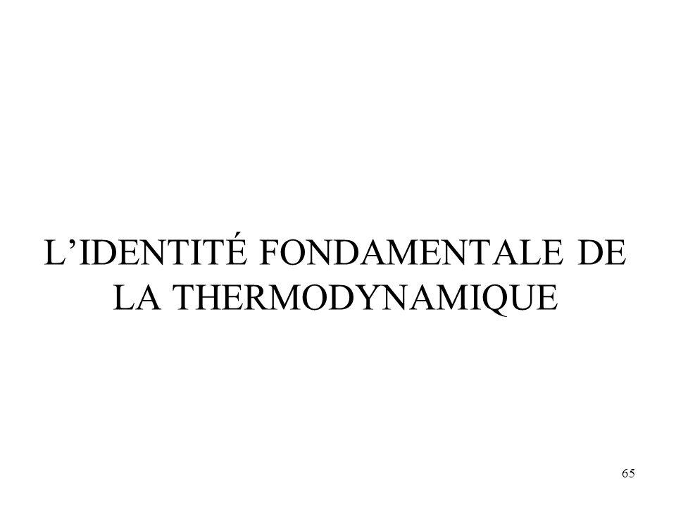L'IDENTITÉ FONDAMENTALE DE LA THERMODYNAMIQUE