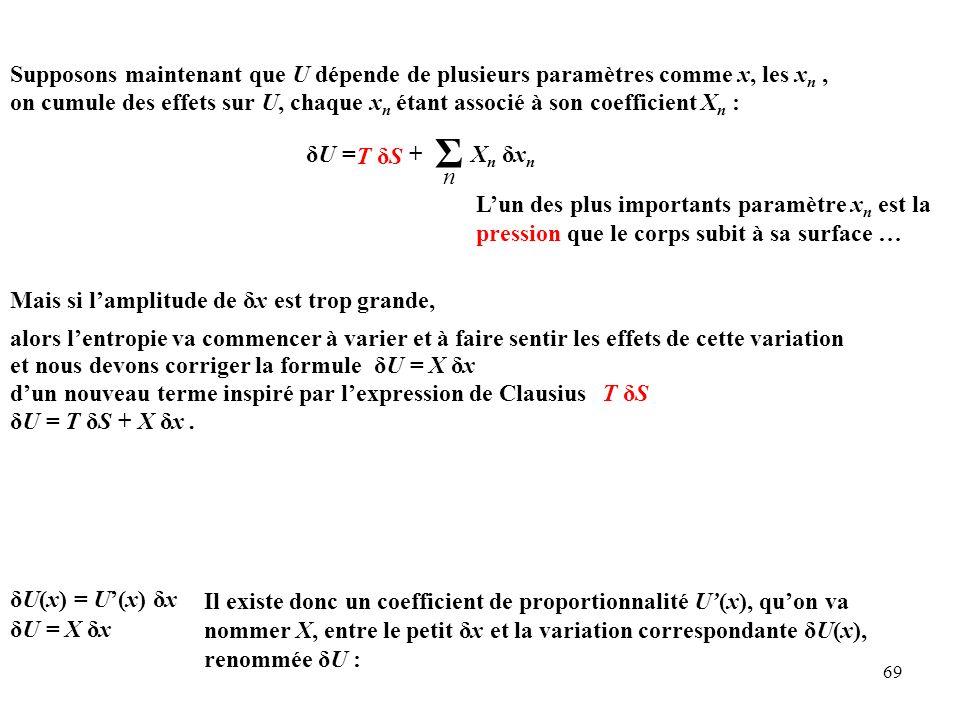 Supposons maintenant que U dépende de plusieurs paramètres comme x, les xn ,